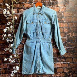 Vintage 90s Zip Up Denim Mini Dress Shoulder Pads
